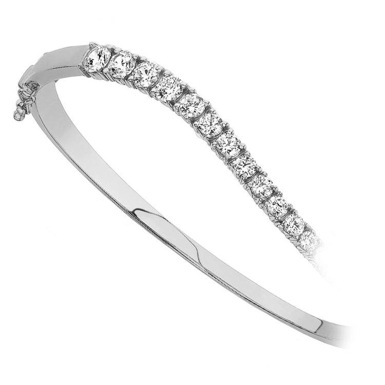 Curved Diamond Bangle Bracelet in White Gold (2 ctw) | 02