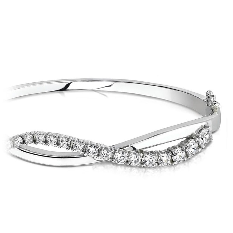 Swirl Diamond Bangle Bracelet in White Gold (2 ctw) | 01