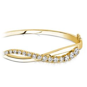 Swirl Diamond Bangle Bracelet in Yellow Gold (2 ctw)