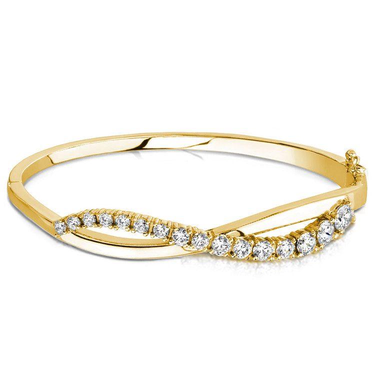 Swirl Diamond Bangle Bracelet in Yellow Gold (2 ctw)   03