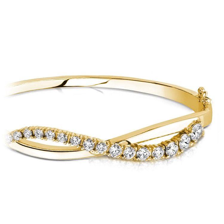 Swirl Diamond Bangle Bracelet in Yellow Gold (2 ctw)   01