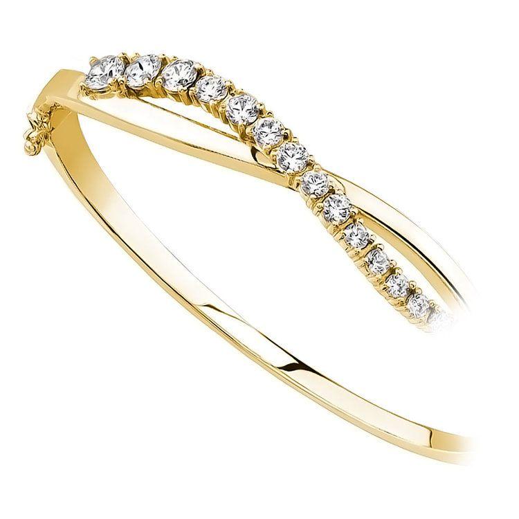 Swirl Diamond Bangle Bracelet in Yellow Gold (2 ctw)   02