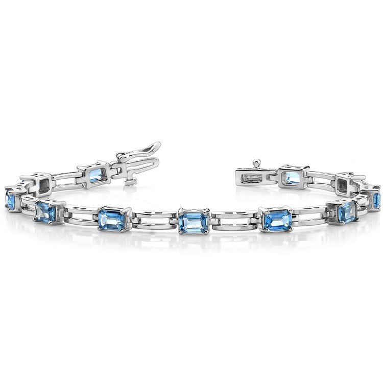 Swiss Blue Emerald-Cut Topaz Bracelet in White Gold (8 ctw) | 03