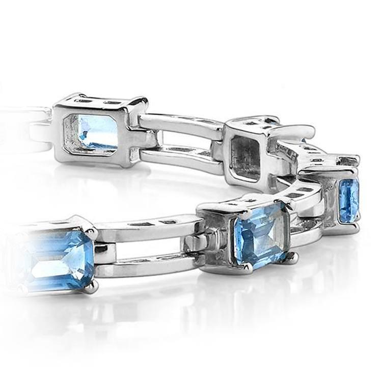 Swiss Blue Emerald-Cut Topaz Bracelet in White Gold (8 ctw) | 01