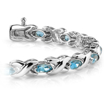 Swiss Blue Topaz Marquise Gem Bracelet in White Gold (5 ctw) | Thumbnail 01
