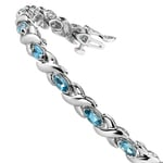 Swiss Blue Topaz Marquise Gem Bracelet in White Gold (5 ctw) | Thumbnail 02