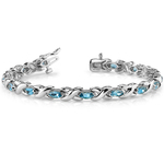 Swiss Blue Topaz Marquise Gem Bracelet in White Gold (5 ctw) | Thumbnail 03