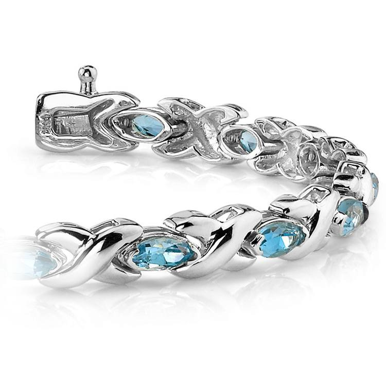 Swiss Blue Topaz Marquise Gem Bracelet in White Gold (5 ctw) | 01