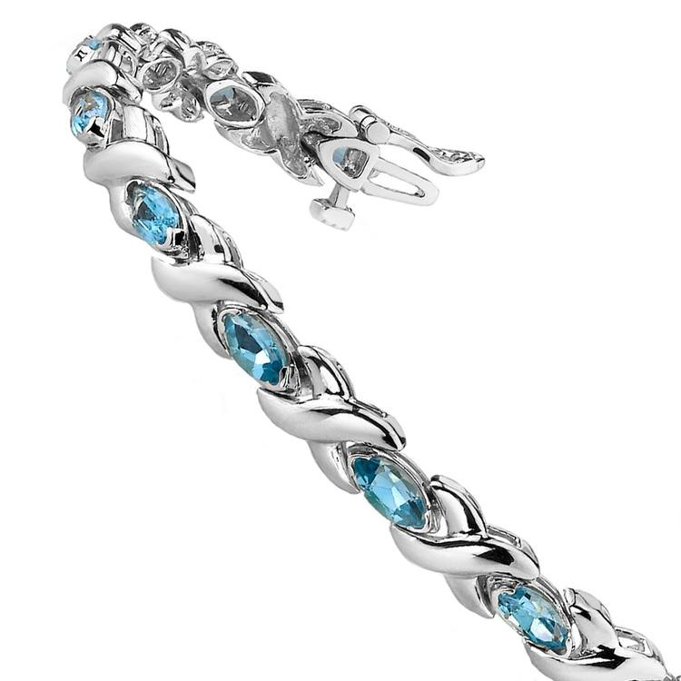 Swiss Blue Topaz Marquise Gem Bracelet in White Gold (5 ctw) | 02