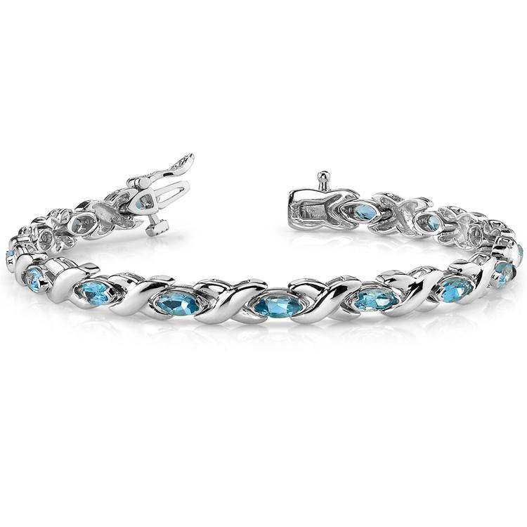 Swiss Blue Topaz Marquise Gem Bracelet in White Gold (5 ctw) | 03