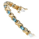 Swiss Blue Topaz Marquise Gem Bracelet In Yellow Gold (5 ctw)   Thumbnail 01