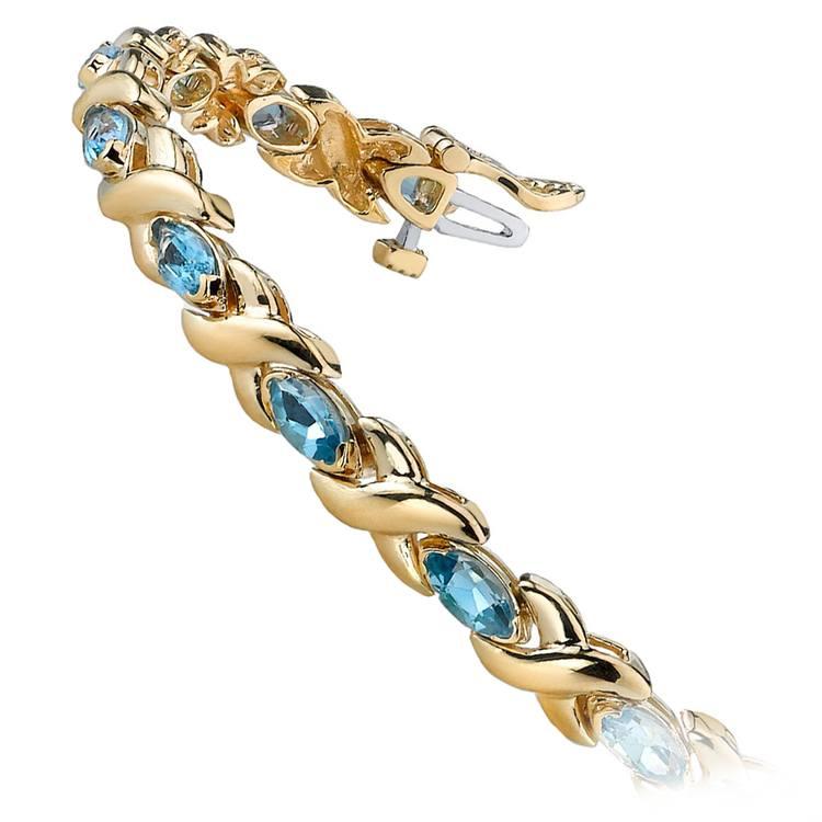 Swiss Blue Topaz Marquise Gem Bracelet In Yellow Gold (5 ctw)   02