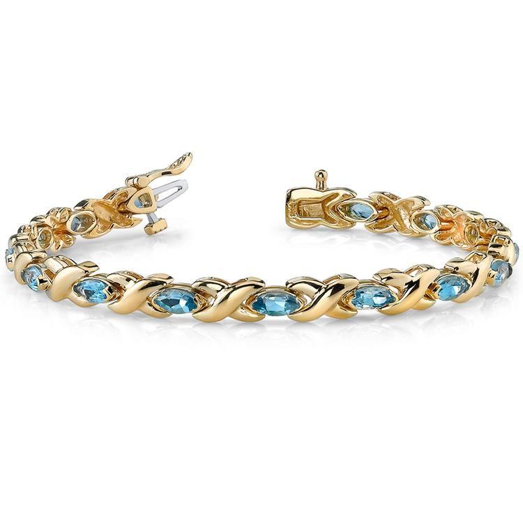 Swiss Blue Topaz Marquise Gem Bracelet In Yellow Gold (5 ctw)   03