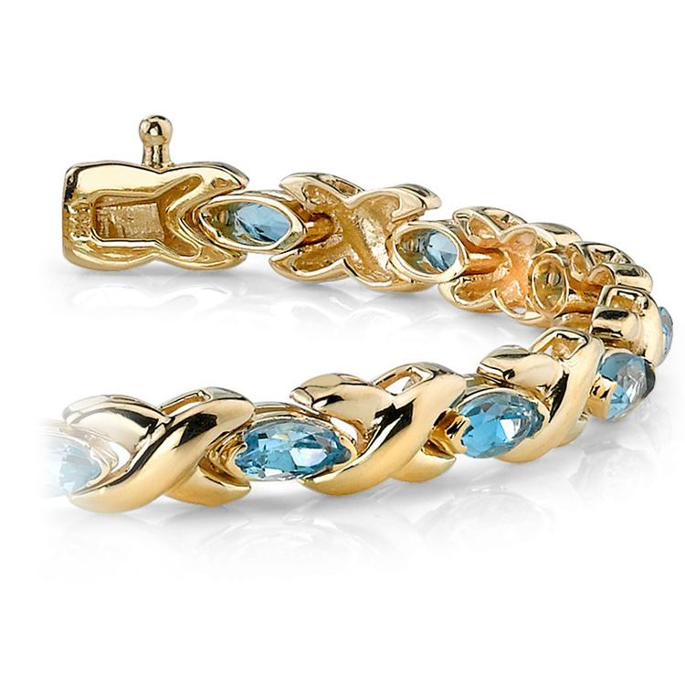 Swiss Blue Topaz Marquise Gem Bracelet In Yellow Gold (5 ctw)   01