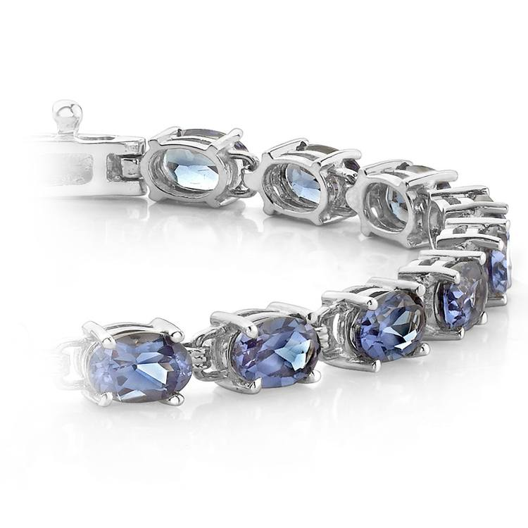 Tanzanite Oval-Cut Gemstone Bracelet in White Gold (10 ctw) | 01