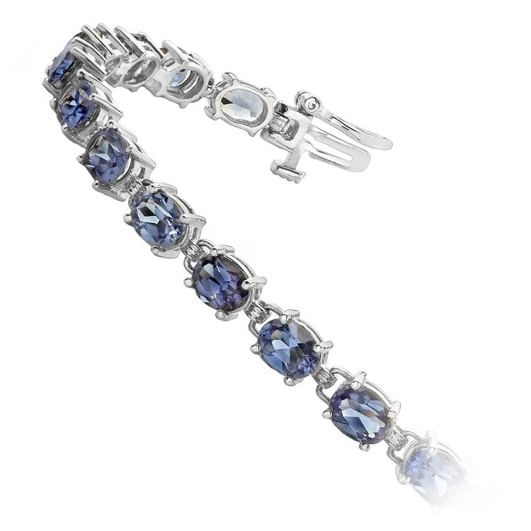Tanzanite Oval-Cut Gemstone Bracelet in White Gold (10 ctw) | 02