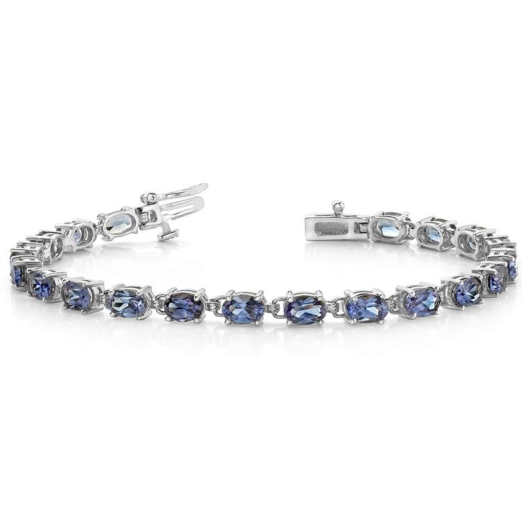 Tanzanite Oval-Cut Gemstone Bracelet in White Gold (10 ctw) | 03