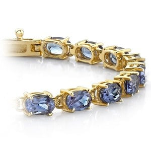 Tanzanite Oval-Cut Gemstone Bracelet in Yellow Gold (10 ctw)