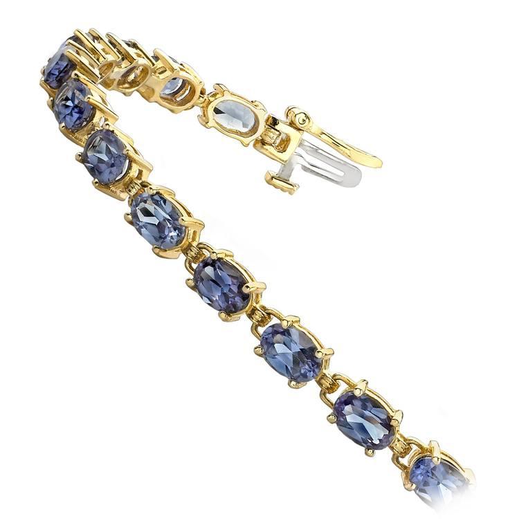 Tanzanite Oval-Cut Gemstone Bracelet in Yellow Gold (10 ctw) | 02