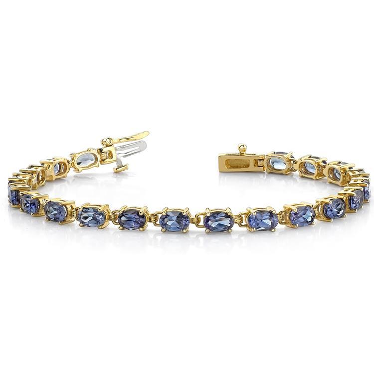 Tanzanite Oval-Cut Gemstone Bracelet in Yellow Gold (10 ctw) | 03