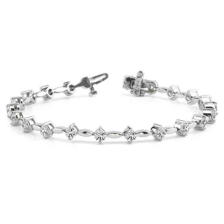 Teardrop Diamond Bracelet in White Gold (2 ctw) | 03