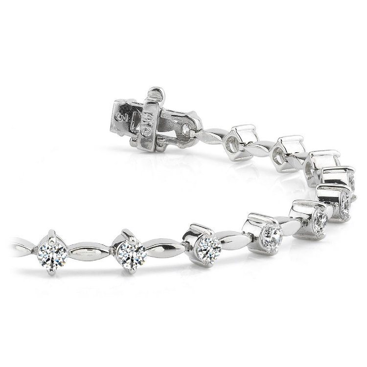 Teardrop Diamond Bracelet in White Gold (2 ctw) | 01