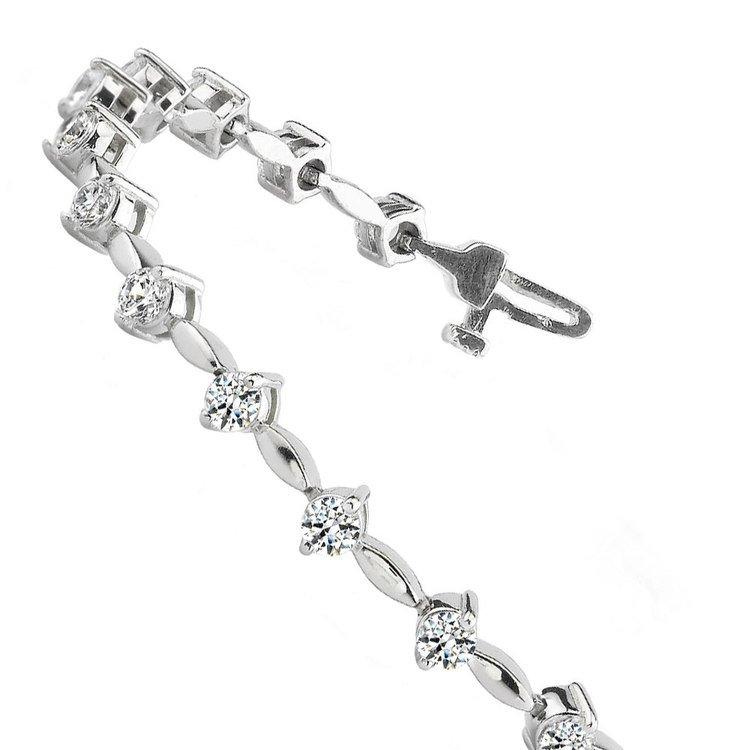 Teardrop Diamond Bracelet in White Gold (2 ctw) | 02