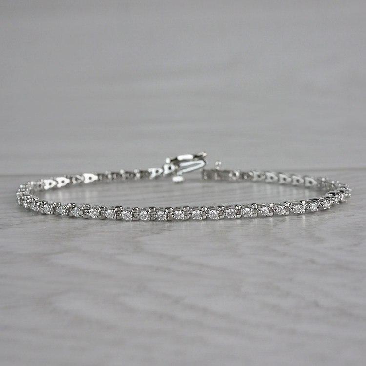 Three Prong Diamond Tennis Bracelet in White Gold (1 ctw) | 04