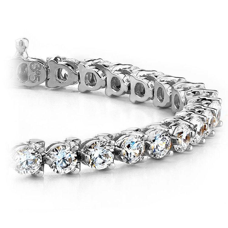 Three Prong Diamond Tennis Bracelet in White Gold (1 ctw) | 01