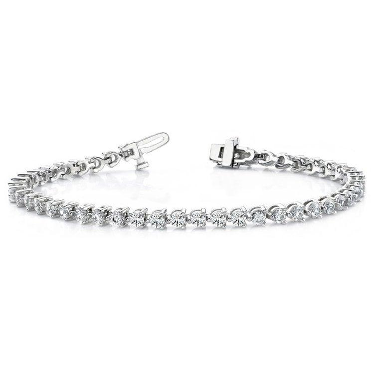 Three Prong Diamond Tennis Bracelet in White Gold (3 ctw) | 03