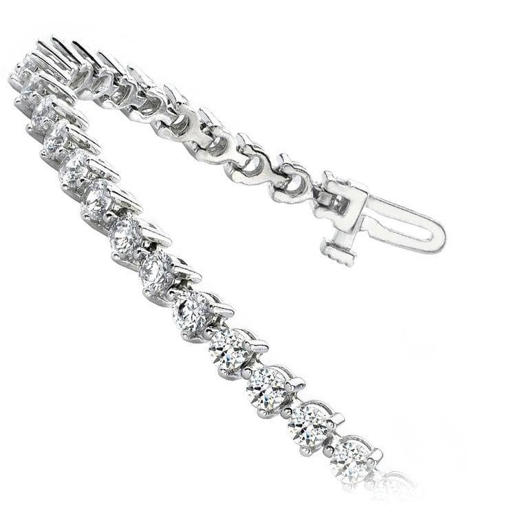 Three Prong Diamond Tennis Bracelet in White Gold (3 ctw) | 02
