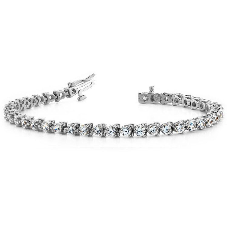 Three Prong Diamond Tennis Bracelet in White Gold (4 ctw) | 03