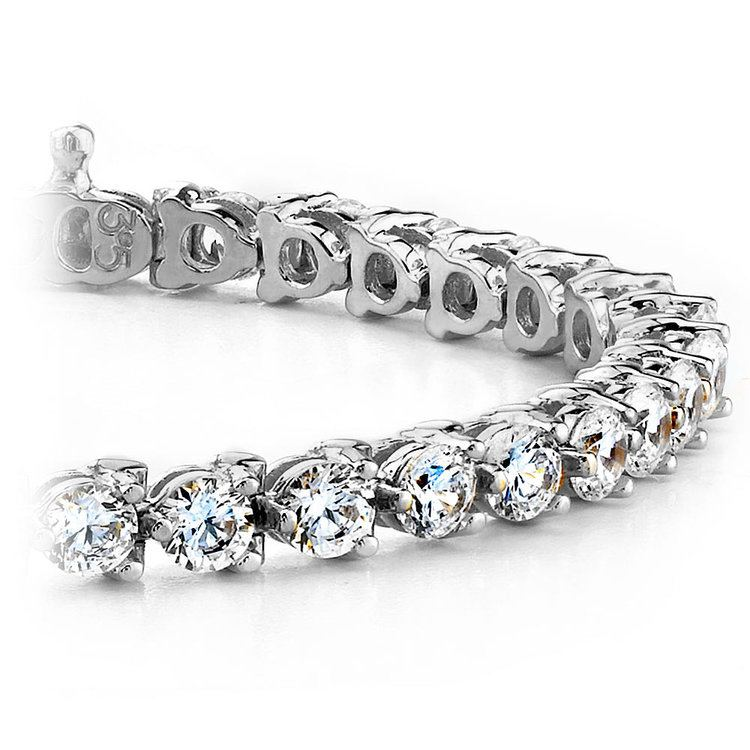 Three Prong Diamond Tennis Bracelet in White Gold (4 ctw) | 01