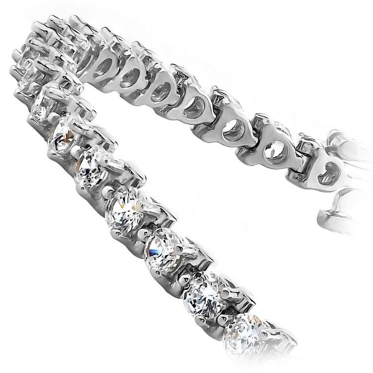 Three Prong Diamond Tennis Bracelet in White Gold (4 ctw) | 02