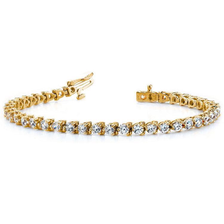 Three Prong Diamond Tennis Bracelet in Yellow Gold (1 ctw) | 03