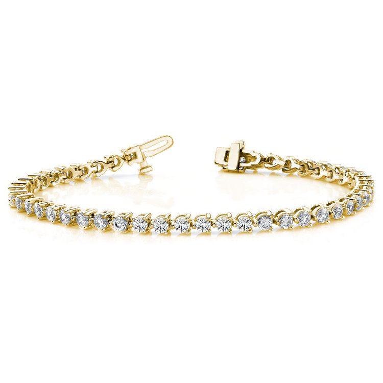 Three Prong Diamond Bracelet in Yellow Gold (3 ctw) | 03
