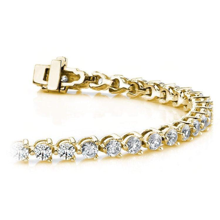 Three Prong Diamond Bracelet in Yellow Gold (3 ctw) | 01
