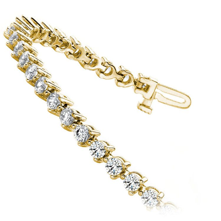 Three Prong Diamond Bracelet in Yellow Gold (3 ctw) | 02