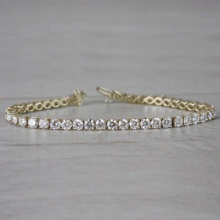 Three Prong Diamond Tennis Bracelet in Yellow Gold (4 ctw) | 04