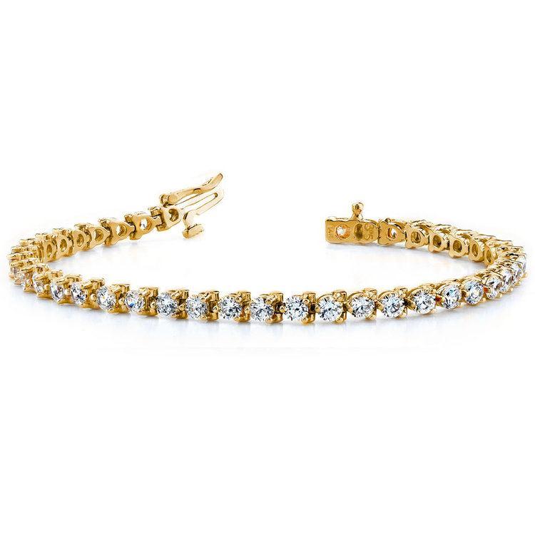 Three Prong Diamond Tennis Bracelet in Yellow Gold (4 ctw) | 03