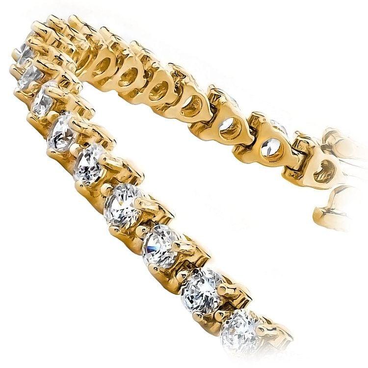 Three Prong Diamond Tennis Bracelet in Yellow Gold (4 ctw) | 02