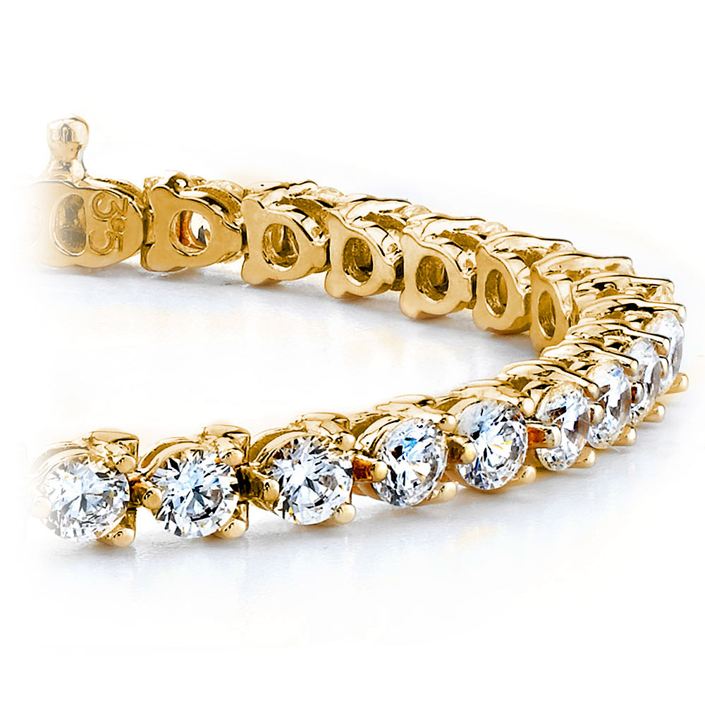 Three Prong Diamond Tennis Bracelet In Yellow Gold 4 Ctw