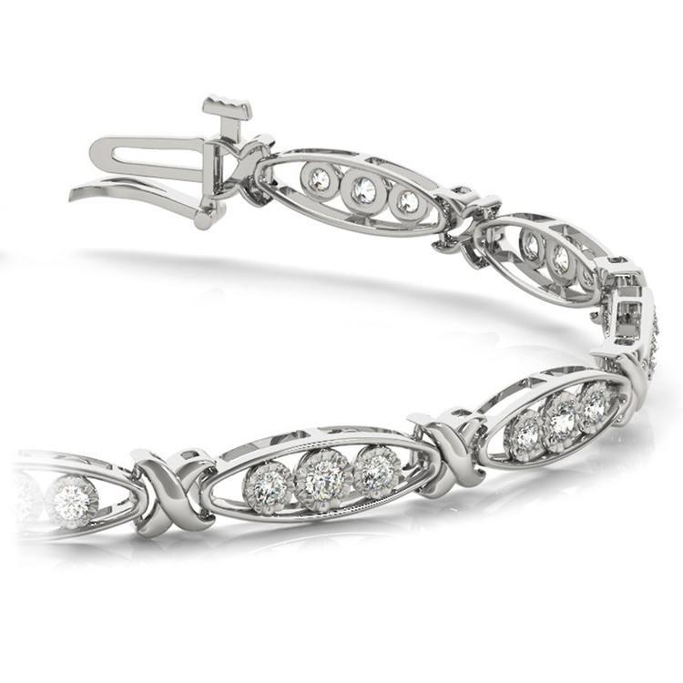 Triple Diamond Bracelet in White Gold (5/8 ctw) | 01
