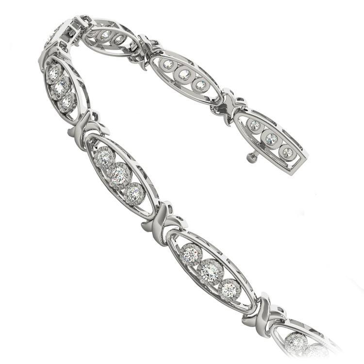Triple Diamond Bracelet in White Gold (5/8 ctw) | 02