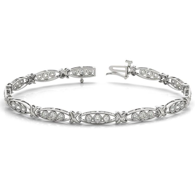 Triple Diamond Bracelet in White Gold (5/8 ctw) | 03