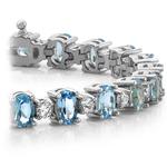Blue Topaz & Diamond Gem Bracelet In White Gold (16 ctw) | Thumbnail 01