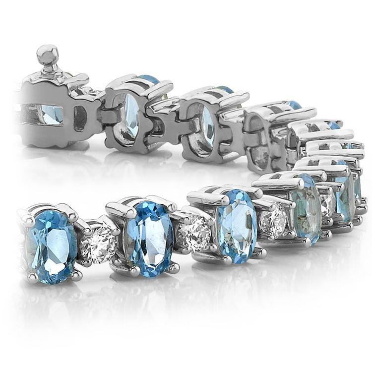 Blue Topaz & Diamond Gem Bracelet In White Gold (16 ctw) | 01