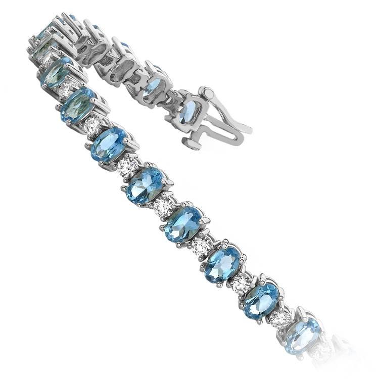 Blue Topaz & Diamond Gem Bracelet In White Gold (16 ctw) | 02