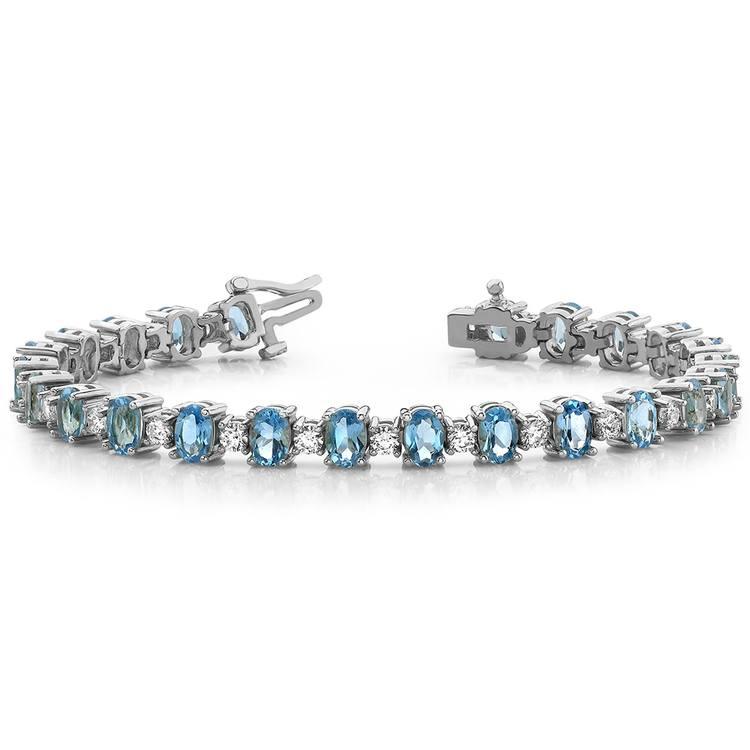 Blue Topaz & Diamond Gem Bracelet In White Gold (16 ctw) | 03