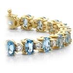Blue Topaz & Diamond Gem Bracelet In Yellow Gold (16 Ctw) | Thumbnail 01